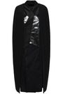 RICK OWENS Coated denim and shell-paneled crepe cape