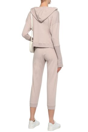 ENZA COSTA Mélange cotton-blend hooded sweatshirt