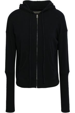 ENZA COSTA Mélange cotton-blend hooded sweatshirt