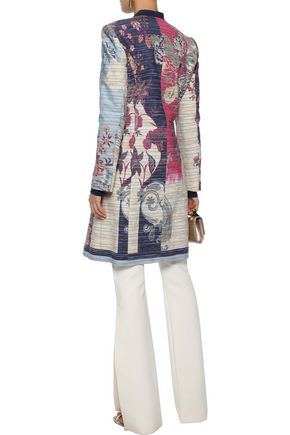ETRO Double-breasted embroidered printed cotton-blend coat