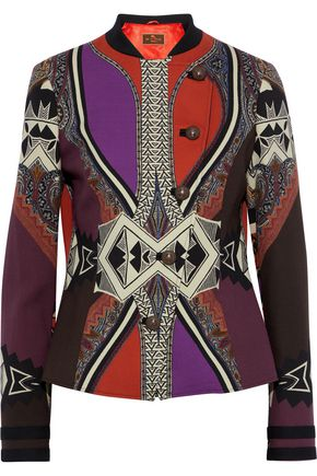 ETRO Double-breasted printed stretch-wool crepe jacket