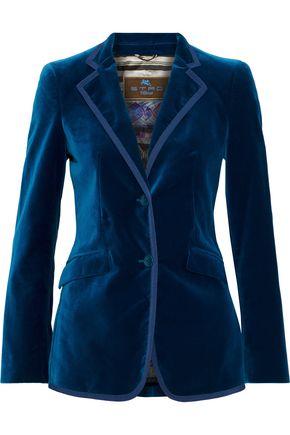 ETRO Grosgrain-trimmed cotton-blend velvet blazer