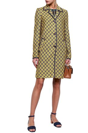 MISSONI Checked metallic crochet-knit coat