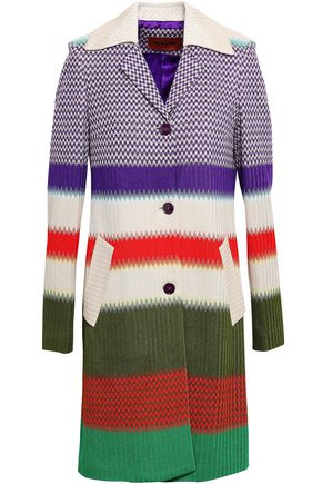 MISSONI Striped crochet-knit coat