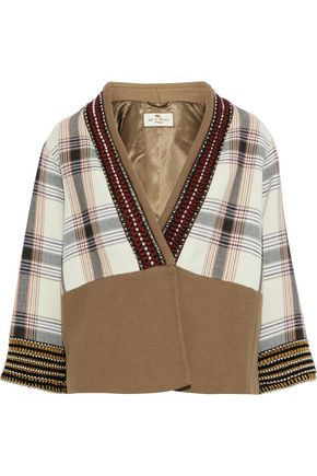 ETRO Embellished checked cotton-blend canvas jacket