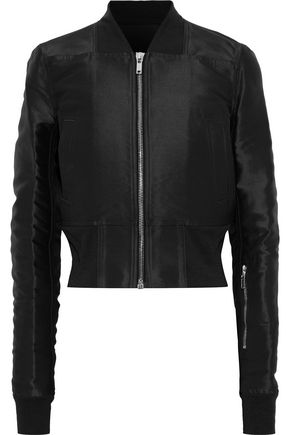 RICK OWENS Cropped silk-satin bomber jacket