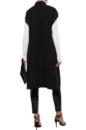 RICK OWENS Double-breasted jersey-trimmed cotton-blend faille gilet