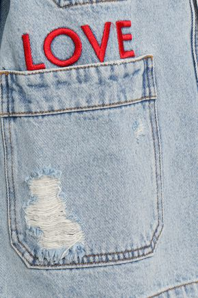 EACH X OTHER Embroidered distressed denim jacket