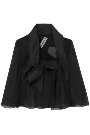 RICK OWENS Draped silk-chiffon, tulle and sateen jacket
