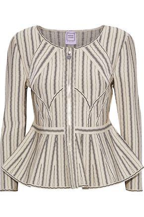 HERVÉ LÉGER Striped jacquard-knit peplum jacket