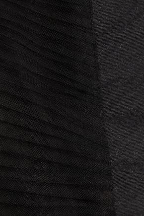 RICK OWENS Plissé-tulle, paper-blend cloqué and crinkled-organza cape