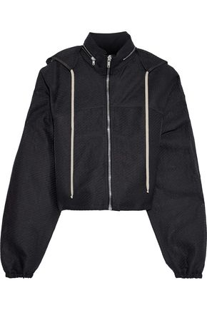 RICK OWENS Cropped paper-blend cloqué hoodie