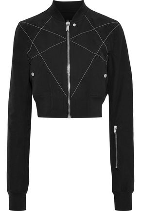 DRKSHDW by RICK OWENS Cropped embroidered cotton-blend shell bomber jacket