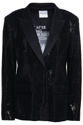 EACH X OTHER Embellished satin-trimmed knitted blazer