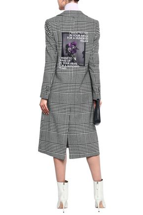 EACH X OTHER Appliquéd embroidered Prince of Wales checked jacquard coat