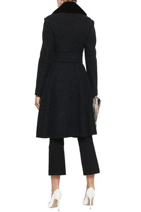 THEORY Belted shearling-trimmed wool coat