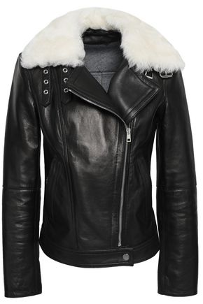 THEORY Wilmore shearling-trimmed leather biker jacket
