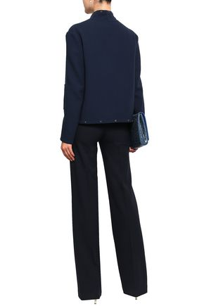 AGNONA Button-embellished wool-crepe jacket