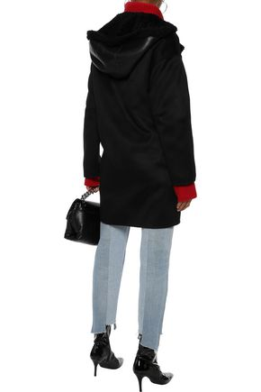 YVES SALOMON Reversible paneled shearling and cashmere hooded jacket