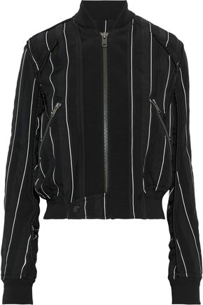 HAIDER ACKERMANN Grosgrain-trimmed striped jacquard bomber jacket
