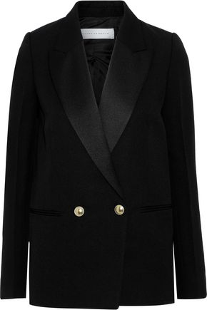 VICTORIA BECKHAM Double-breasted satin-trimmed grain de poudre wool blazer