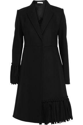 VICTORIA BECKHAM Fringe-trimmed wool-blend felt coat