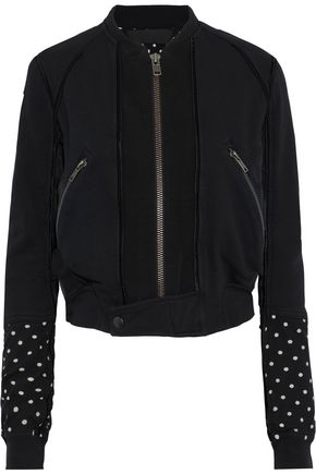 HAIDER ACKERMANN Polka-dot jersey-paneled French cotton-terry bomber jacket