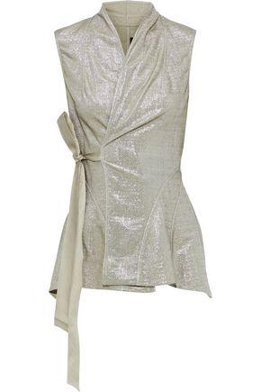 RICK OWENS LILIES Metallic stretch-knit wrap vest