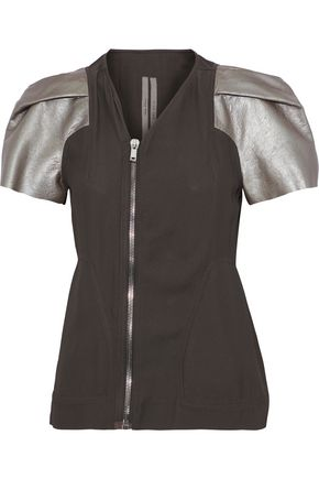 RICK OWENS Metallic leather-paneled crepe jacket