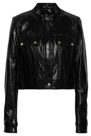 THEORY Venice cropped faux patent-leather biker jacket