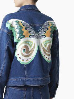 Veste en denim à imprimé papillon