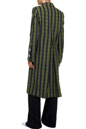VICTORIA BECKHAM Double-breasted pleated textured-jacquard coat