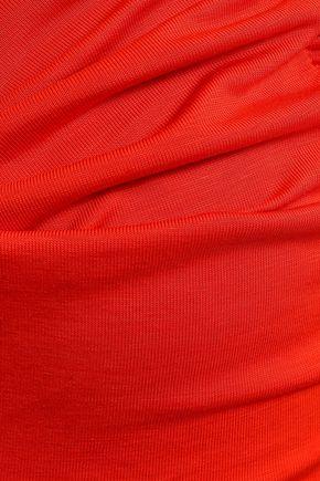 FIORUCCI Twist-front two-tone stretch-jersey midi dress