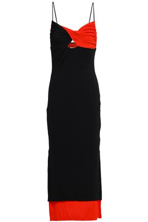 FIORUCCI Twist-front two-tone stretch-jersey midi dress
