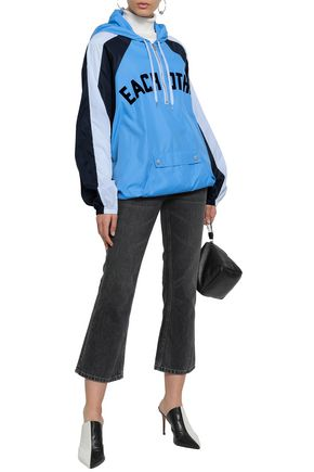EACH X OTHER Flocked color-block shell hooded jacket