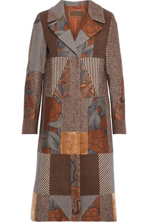 ETRO Patchwork jacquard, velvet and wool-blend coat