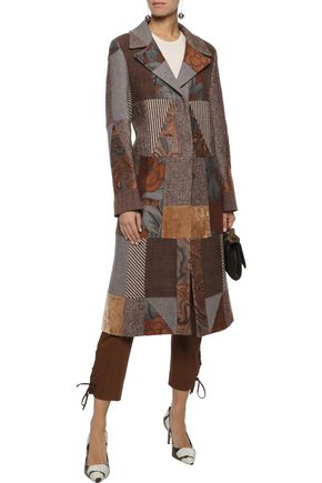 ETRO Patchwork wool-blend jacquard, velvet and tweed coat
