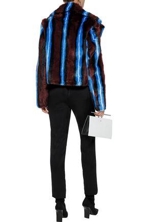 DIANE VON FURSTENBERG Striped faux fur coat