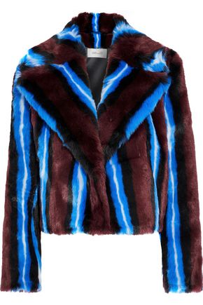 DIANE VON FURSTENBERG Striped faux fur coat