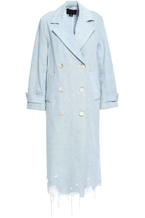 ALEXANDER WANG Double-breasted frayed denim coat