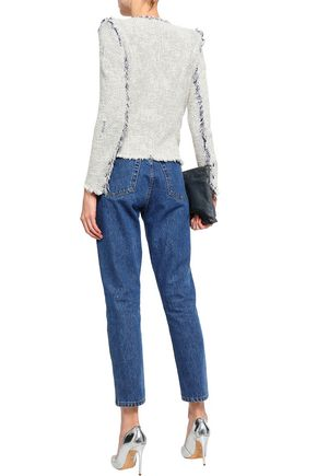 IRO Agnette frayed cotton bouclé-tweed jacket