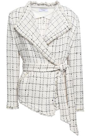 IRO Belted frayed checked cotton-blend tweed jacket