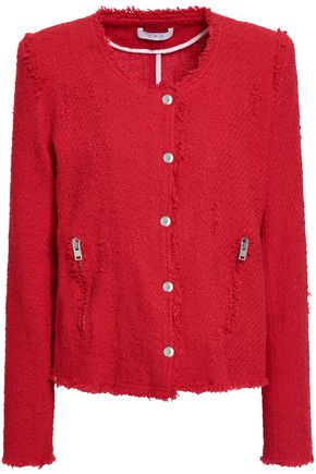 IRO Agnette distressed cotton bouclé-tweed jacket