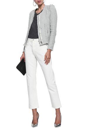 Iro Woman Agnette Distressed Cotton Bouclé-Tweed Jacket Stone