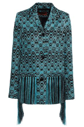 MISSONI Fringed metallic crochet-knit jacket