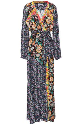 FRAME Ruffle-trimmed printed crepe maxi wrap dress