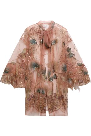 ANNA SUI Embellished embroidered net jacket