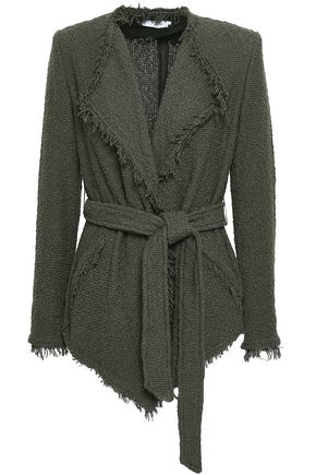 IRO Schala belted frayed cotton-blend bouclé jacket