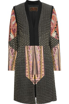 ETRO Wool-trimmed patchwork-effect printed satin-cloqué coat