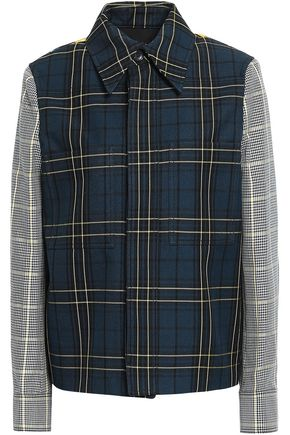 JOSEPH Coen houndstooth jacquard and checked twill jacket